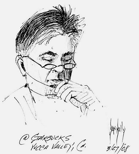 Tom Abate, also known as MiniMediaGuy; drawing by Dan Kelly